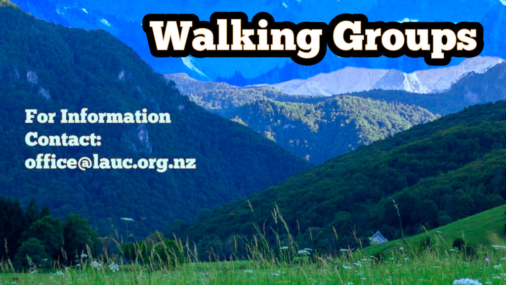Walking Groups, for more information contact office@lauc.org.nz